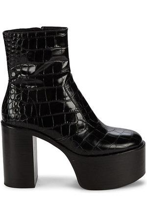 SIMON MILLER Raid Croc-Embossed Leather Platform Ankle Boots