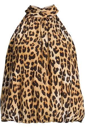 ALICE+OLIVIA Maris Leopard Halterneck Top