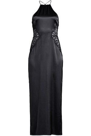 La Perla Exotique Silk Halter Lace-Trim Night Dress