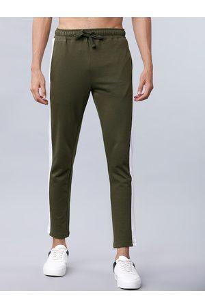 Highlander Men Olive-Green Colourblocked Slim-Fit Track Pants