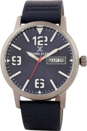 Daniel Klein Men Navy Blue Leather Analogue Watch DK.1.12506-2