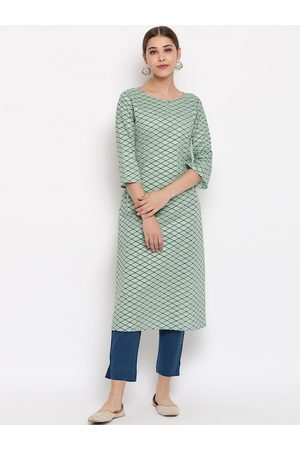 Janasya Women Green & Blue Printed Straight Kurta