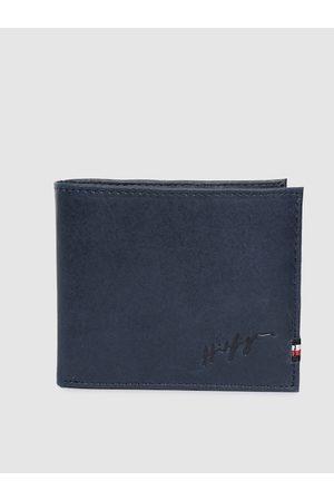 Tommy Hilfiger Men Blue Solid Genuine Leather Two Fold Wallet