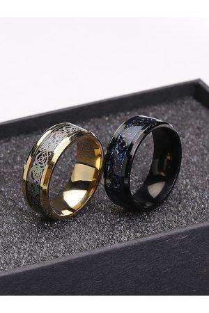 Yellow Chimes Jewellery Men Rings - Men Set Of 2 Gold-Plated & Black Dragon Celtic Signet Finger Rings