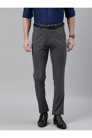 Louis Philippe Men Charcoal Grey Super Slim Fit Solid Formal Trousers