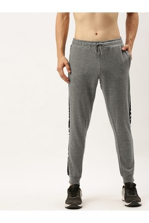 Flying Machine Men Grey Straight Fit Solid Joggers with Side Stripes