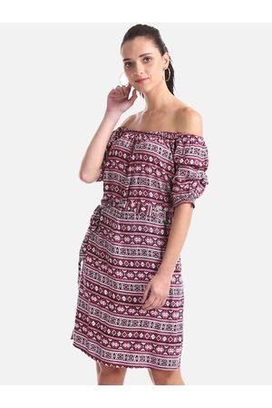 Cherokee Women Pink Printed A-Line Dress