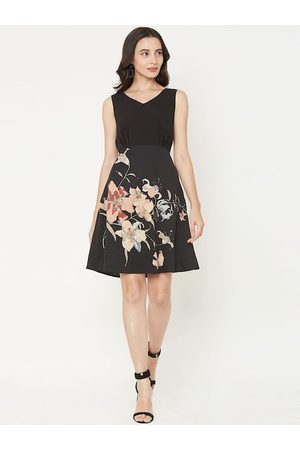 MISH Women Black & Pink Floral Printed Fit and Flare Dress