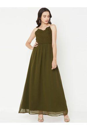 MISH Women Olive Green Solid Maxi Dress