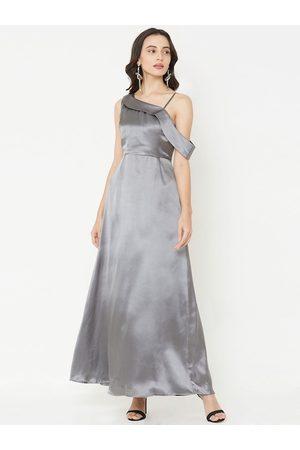 MISH Women Grey Solid Maxi Dress