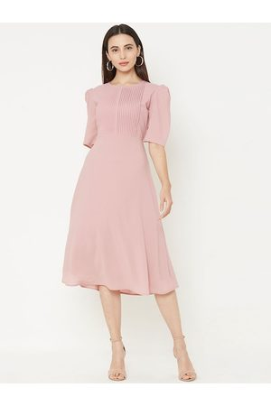 MISH Women Pink Solid Fit and Flare Dress