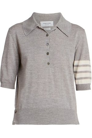 Thom Browne Relaxed 4 Bar Merino Wool Polo Top