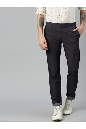 Tommy Hilfiger Men Navy Blue Regular Fit Solid Chinos