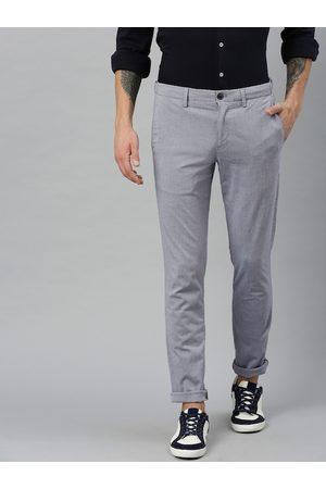 Tommy Hilfiger Men Blue Bleecker Slim Fit Self Design Regular Trousers