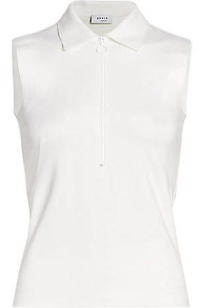 AKRIS Women Polo Shirts - Sleeveless Front Zip Polo Shirt
