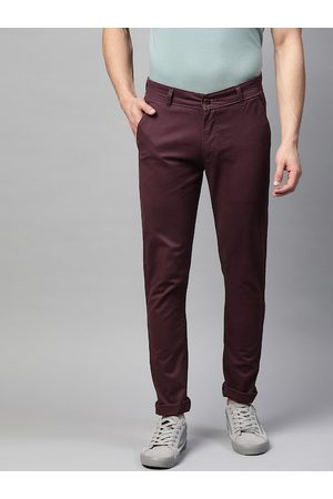 MANQ Men Burgundy Slim Fit Solid Chinos Trousers