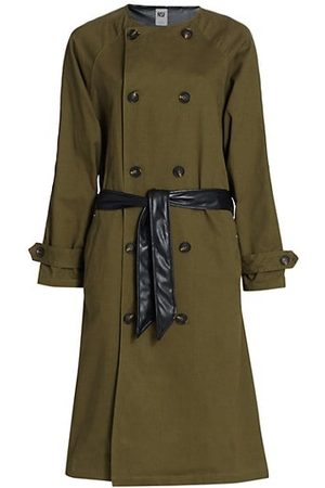 NSF Gladys Contrast Faux Leather Belted Trench Coat