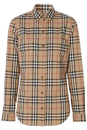 Burberry Women Trench Coats - Archive Plaid Button-Down Shirt