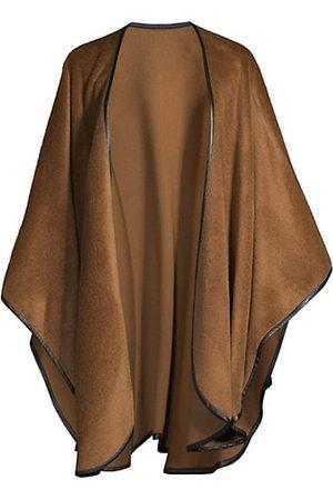 Sofia Cashmere Leather-Trimmed Cape