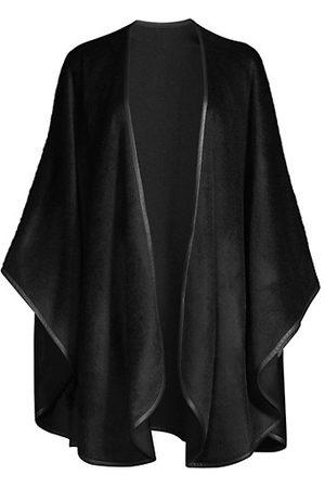 Sofia Cashmere Women Leather Jackets - Leather-Trim Alpaca-Blend Cape