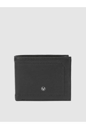 Allen Solly Men Black Solid Two Fold Leather Wallet