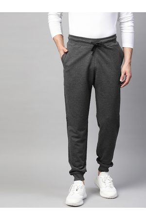 MANQ Men Charcoal Grey Solid Slim Fit Joggers with Side Stripe Detail