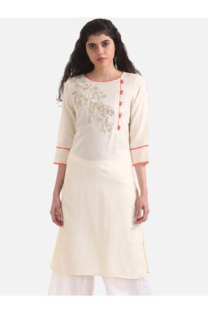 Karigari Women Cream-Coloured & Gold-Toned Embroidered A-Line Kurta