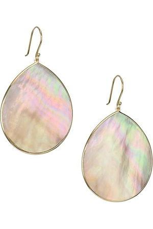 Ippolita Polished Rock Candy Jumbo 18K Yellow & Brown Shell Teardrop Earrings