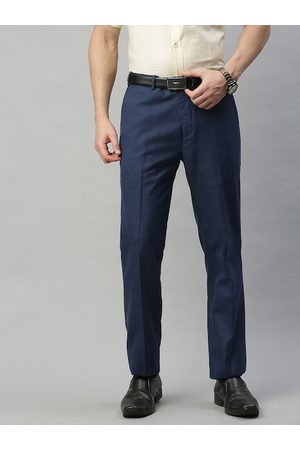 Raymond Weil Men Blue Regular Fit Solid Chinos