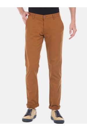 Ruggers Men Brown Tapered Fit Solid Chinos