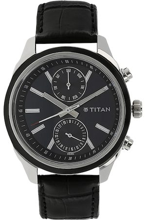 Titan Men Black Leather Analogue Watch 1733KL01