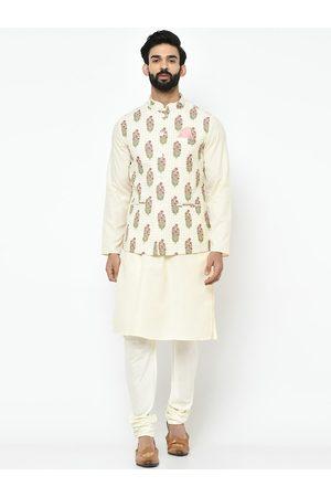 KISAH Men White & Pink Self Design Kurta with Churidar