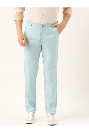 SOJANYA Men Turquoise Blue Smart Regular Fit Solid Chinos