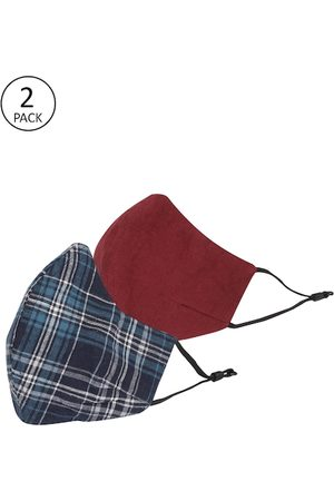 MANARI India Men Pack of 2 Assorted 5-Ply Reusable Cloth Face Masks With Pouch