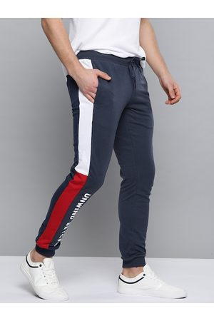 Mast & Harbour Men Navy Blue Solid Joggers with Side Panel Detail