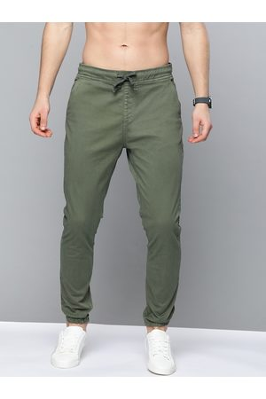 HERE&NOW Men Olive Green Regular Fit Solid Joggers