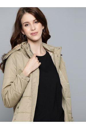 HARVARD Women Khaki Solid Parka Jacket with Detachable Hood
