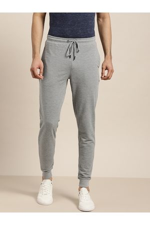 Invictus Men Grey Melange Solid Joggers