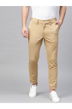 Marks & Spencer Men Beige Slim Fit Textured Regular Trousers