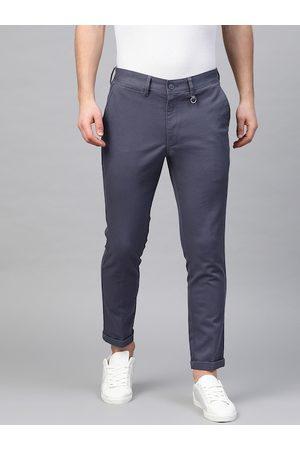 Marks & Spencer Men Navy Blue Slim Fit Self Design Regular Trousers