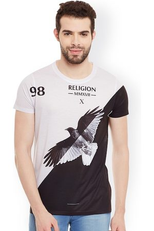 Wear Your Mind Men White & Black Colourblocked & Printed Round Neck T-shirt
