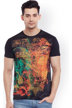 Wear Your Mind Men Black Printed Round Neck T-shirt