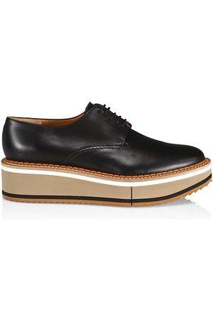 Robert Clergerie Women Loafers - Brook Leather Platform Wedge Derbies