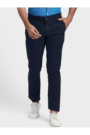 ColorPlus Men Blue Regular Fit Solid Chinos