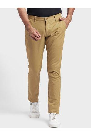 ColorPlus Men Khaki Regular Fit Solid Chinos