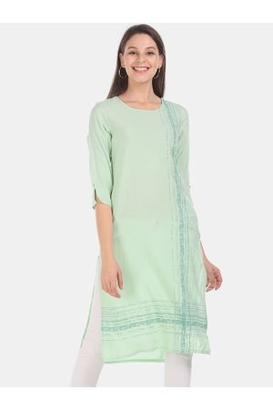 Karigari Women Green Printed Straight Kurta