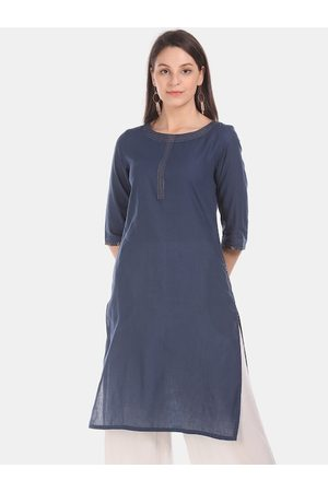 Karigari Women Navy Blue Solid Straight Kurta