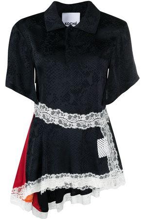 KOCHÉ Women Short Sleeve - Crocodile-effect lace hem shirt