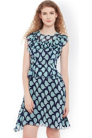 Belle Women Navy & Green Printed Fit and Flare Dress