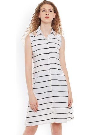 Belle Women White & Black Striped Shirt Dress